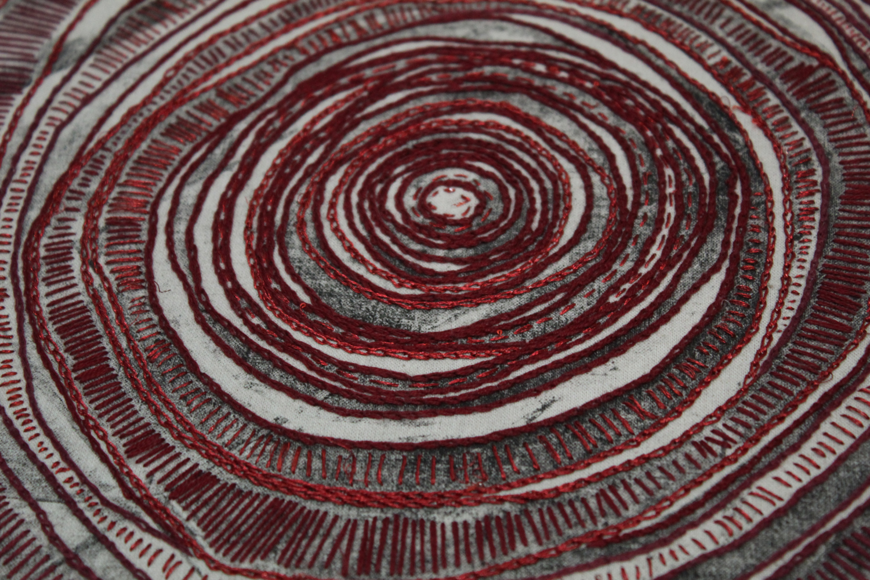 HORMIGUERO IX (Detalle), bordado sobre tela impresa con Ecograbado.