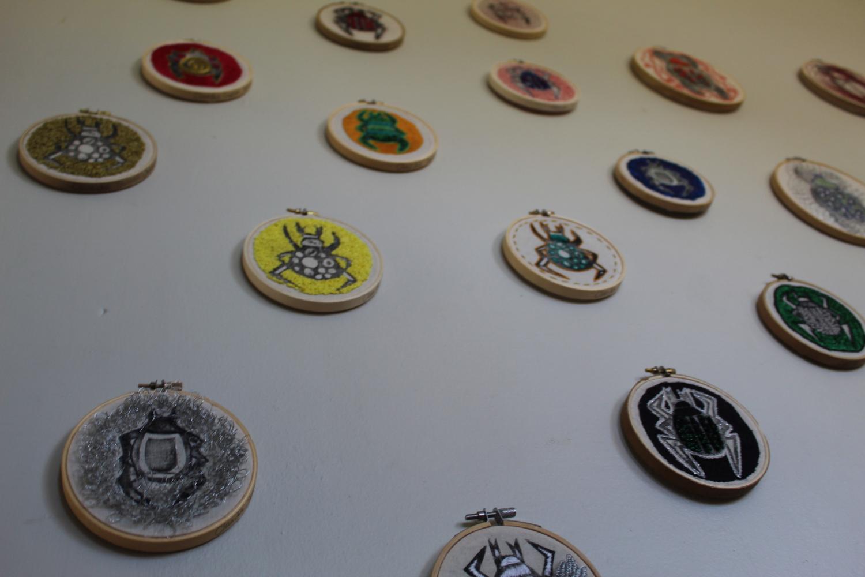 MONTAJE SERIE ARTRÓPODOS I (Detalle), bordado sobre tela.