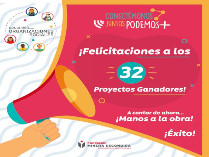 32 proyectos fueron los ganadores del Concurso para Organizaciones Sociales 2021